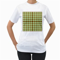 Geometric Tartan Pattern Square Women s T Shirt (white)