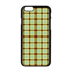 Geometric Tartan Pattern Square Apple Iphone 6/6s Black Enamel Case