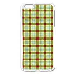 Geometric Tartan Pattern Square Apple Iphone 6 Plus/6s Plus Enamel White Case