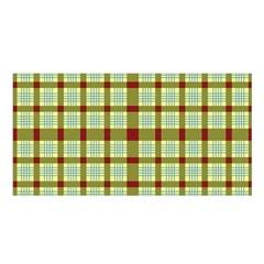 Geometric Tartan Pattern Square Satin Shawl