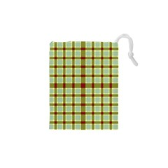 Geometric Tartan Pattern Square Drawstring Pouches (xs)