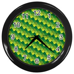 Dragon Scale Scales Pattern Wall Clocks (Black)