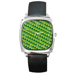 Dragon Scale Scales Pattern Square Metal Watch