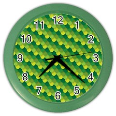 Dragon Scale Scales Pattern Color Wall Clocks