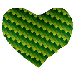 Dragon Scale Scales Pattern Large 19  Premium Heart Shape Cushions