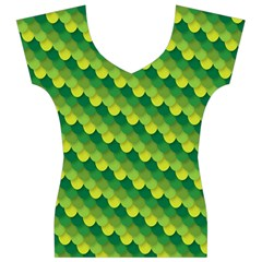 Dragon Scale Scales Pattern Women s V-Neck Cap Sleeve Top