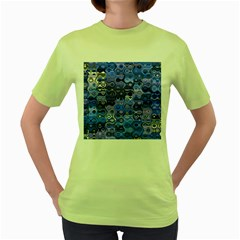 Background Texture Pattern Colorful Women s Green T Shirt