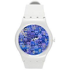 Background Texture Pattern Colorful Round Plastic Sport Watch (m)