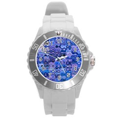 Background Texture Pattern Colorful Round Plastic Sport Watch (l)