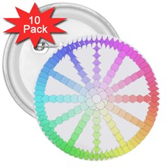 Polygon Evolution Wheel Geometry 3  Buttons (10 Pack)