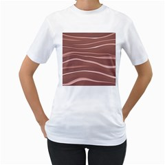 Lines Swinging Texture Background Women s T Shirt (white) (two Sided)