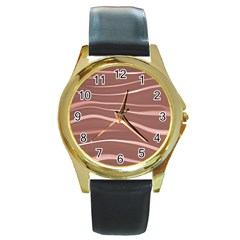 Lines Swinging Texture Background Round Gold Metal Watch
