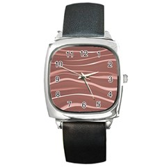 Lines Swinging Texture Background Square Metal Watch