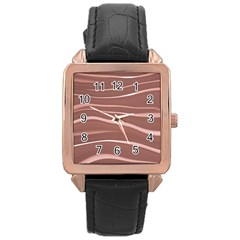 Lines Swinging Texture Background Rose Gold Leather Watch