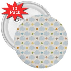 Baby Cloudy Star Cloud Rainbow Blue Sky 3  Buttons (10 pack)