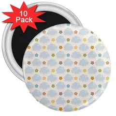 Baby Cloudy Star Cloud Rainbow Blue Sky 3  Magnets (10 pack)