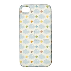 Baby Cloudy Star Cloud Rainbow Blue Sky Apple iPhone 4/4S Hardshell Case with Stand