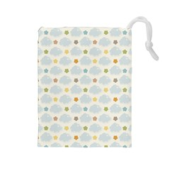 Baby Cloudy Star Cloud Rainbow Blue Sky Drawstring Pouches (Large)