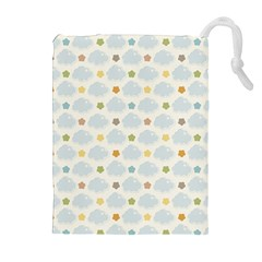 Baby Cloudy Star Cloud Rainbow Blue Sky Drawstring Pouches (Extra Large)