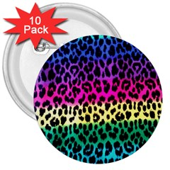 Cheetah Neon Rainbow Animal 3  Buttons (10 pack)