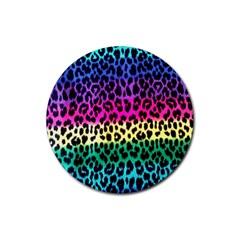 Cheetah Neon Rainbow Animal Rubber Round Coaster (4 Pack)