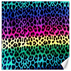 Cheetah Neon Rainbow Animal Canvas 16  X 16