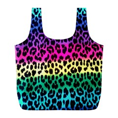 Cheetah Neon Rainbow Animal Full Print Recycle Bags (L)
