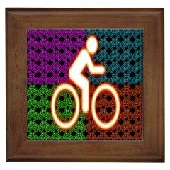 Bike Neon Colors Graphic Bright Bicycle Light Purple Orange Gold Green Blue Framed Tiles