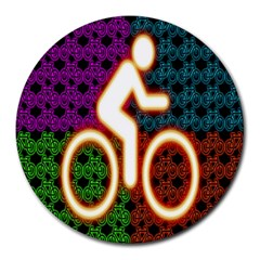 Bike Neon Colors Graphic Bright Bicycle Light Purple Orange Gold Green Blue Round Mousepads