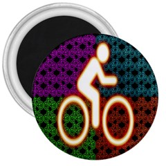 Bike Neon Colors Graphic Bright Bicycle Light Purple Orange Gold Green Blue 3  Magnets