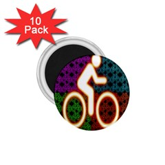 Bike Neon Colors Graphic Bright Bicycle Light Purple Orange Gold Green Blue 1 75  Magnets (10 Pack)