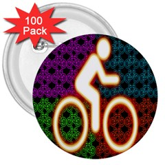 Bike Neon Colors Graphic Bright Bicycle Light Purple Orange Gold Green Blue 3  Buttons (100 pack)