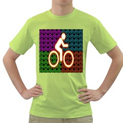 Bike Neon Colors Graphic Bright Bicycle Light Purple Orange Gold Green Blue Green T-Shirt