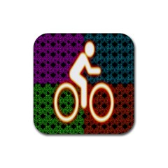 Bike Neon Colors Graphic Bright Bicycle Light Purple Orange Gold Green Blue Rubber Square Coaster (4 pack)