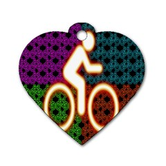 Bike Neon Colors Graphic Bright Bicycle Light Purple Orange Gold Green Blue Dog Tag Heart (Two Sides)