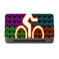 Bike Neon Colors Graphic Bright Bicycle Light Purple Orange Gold Green Blue Memory Card Reader With Cf