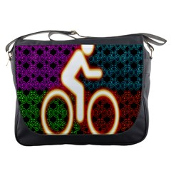 Bike Neon Colors Graphic Bright Bicycle Light Purple Orange Gold Green Blue Messenger Bags