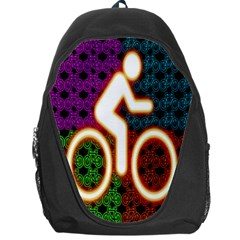Bike Neon Colors Graphic Bright Bicycle Light Purple Orange Gold Green Blue Backpack Bag