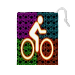 Bike Neon Colors Graphic Bright Bicycle Light Purple Orange Gold Green Blue Drawstring Pouches (Large)