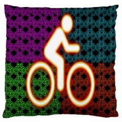 Bike Neon Colors Graphic Bright Bicycle Light Purple Orange Gold Green Blue Large Flano Cushion Case (Two Sides)