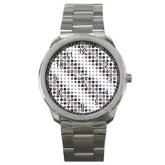 Circle Blue Grey Line Waves Black Sport Metal Watch
