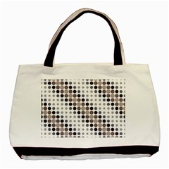 Circle Blue Grey Line Waves Black Basic Tote Bag