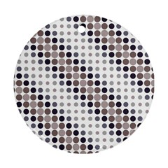 Circle Blue Grey Line Waves Black Round Ornament (two Sides)
