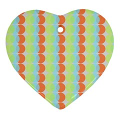 Circles Orange Blue Green Yellow Ornament (Heart)