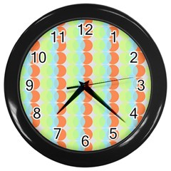 Circles Orange Blue Green Yellow Wall Clocks (Black)