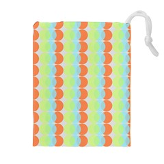 Circles Orange Blue Green Yellow Drawstring Pouches (Extra Large)