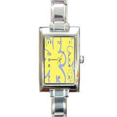 Doodle Shapes Large Flower Floral Grey Yellow Rectangle Italian Charm Watch