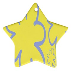 Doodle Shapes Large Flower Floral Grey Yellow Ornament (star)