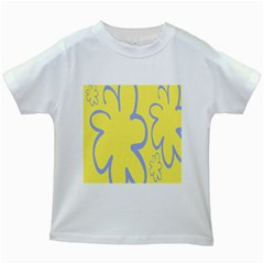 Doodle Shapes Large Flower Floral Grey Yellow Kids White T-Shirts