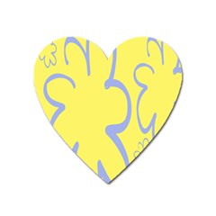 Doodle Shapes Large Flower Floral Grey Yellow Heart Magnet